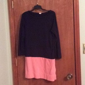 J. Crew black and pink long sleeved knit dress
